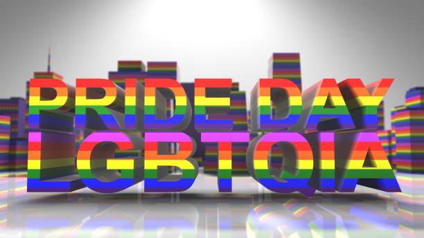 Pride Day LGBTQIA LGBT Mardi Gras graphic title 3D render Gay Pride graphic title 3D render. The letters LGBT & LGBTQIA refer to lesbian, gay, bisexual, transgender, queer or questioning, intersex, and asexual or allied. cisgender stock pictures, royalty-free photos & images