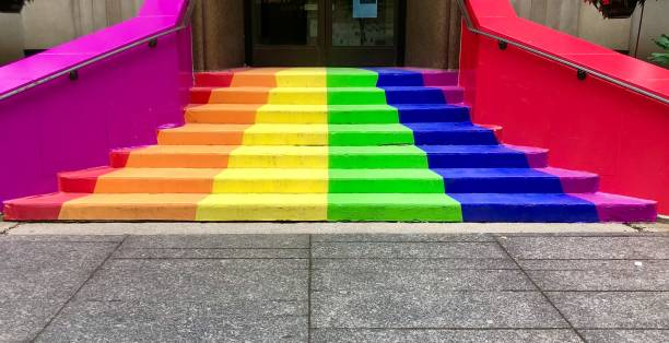 Pride Flag colors Rainbow Staircase for Pride month stock photo