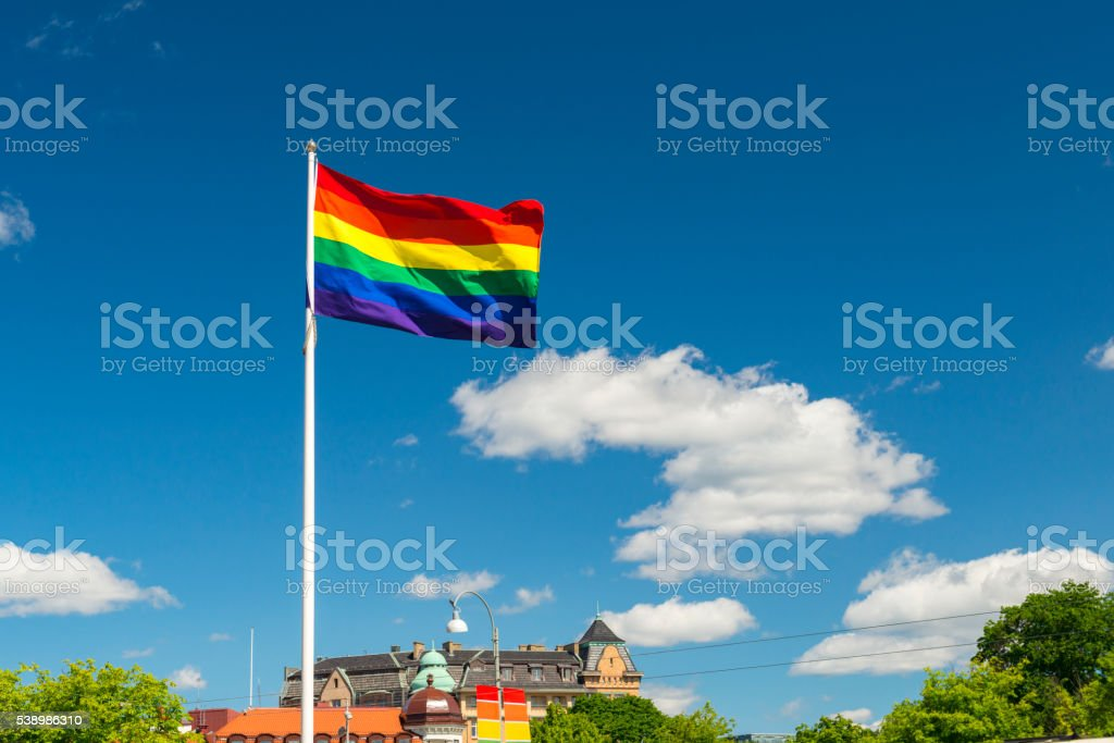 Pride flag in Gothenburg city stock photo