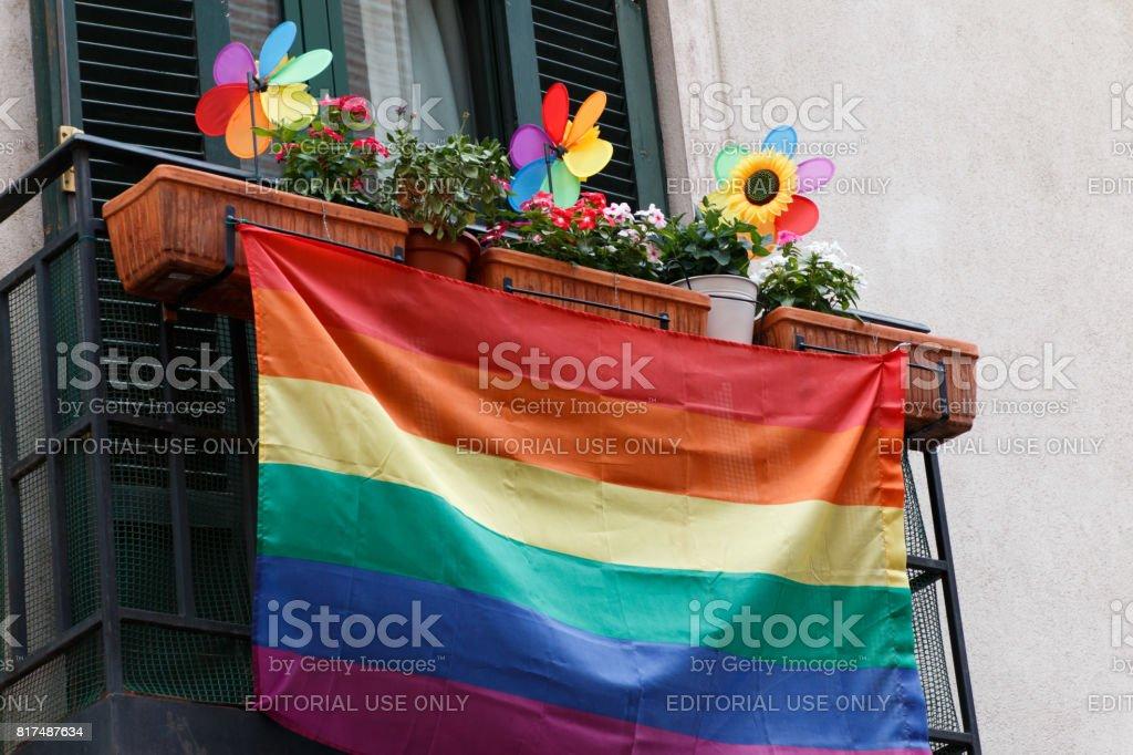 Pride flag in madrid stock photo