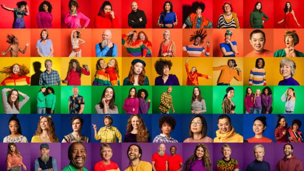 pride flag montage - große personengruppe stock-fotos und bilder