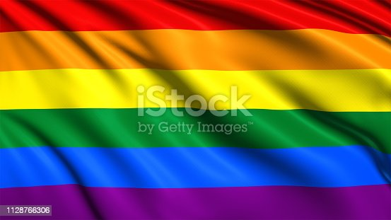 gay pride flag with fabric structure in the wind