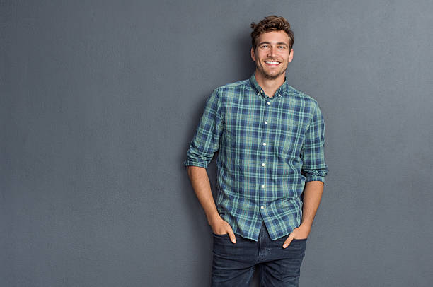 pride man smiling - casual clothing stock photos and pictures