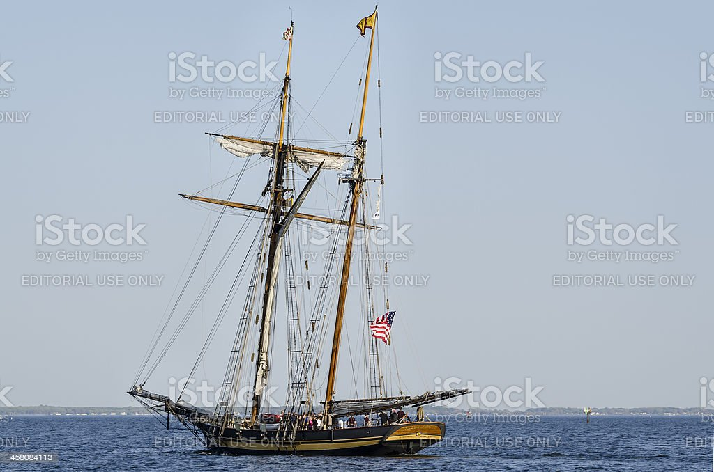 Pride of Baltimore II Leaves Annapolis Horizontal stock photo
