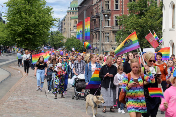 Pride Parade of Helsinki 2019 - Parade Promoting Equal Rights for LGBT+ Community stock photo