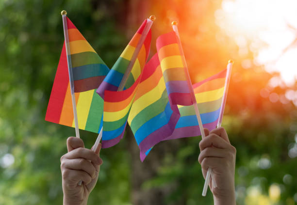 LGBT, pride, rainbow flag as a symbol of lesbian, gay, bisexual, transgender, and queer pride and LGBTQ social movements in June month LGBT, pride, rainbow flag as a symbol of lesbian, gay, bisexual, transgender, and queer pride and LGBTQ social movements in June month month stock pictures, royalty-free photos & images