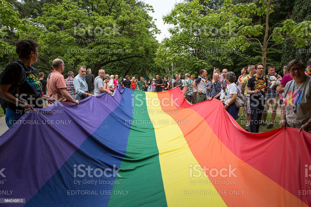 Pride Walk, demonstration parade, Pink Saturday Gay Euro Pride Amsterdam stock photo