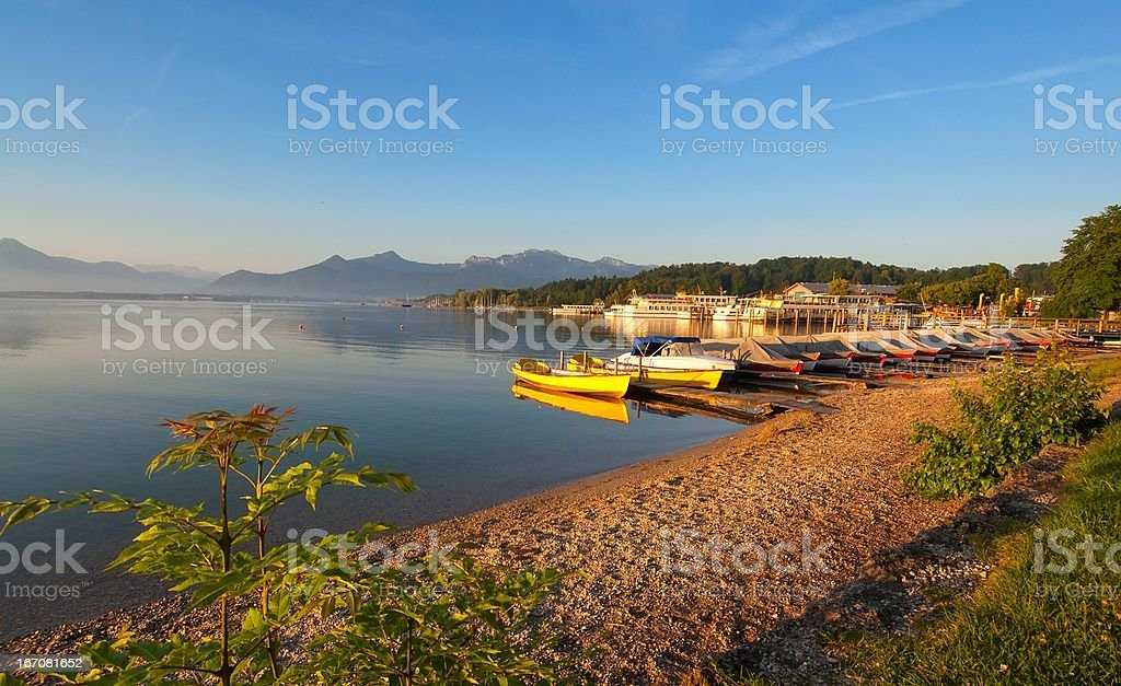 Prien, Chiemsee, in the early Morning stock photo