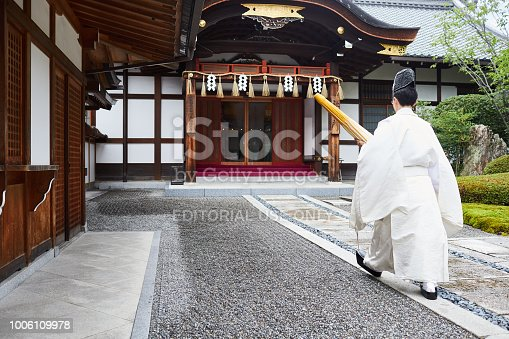 Kyoto, Japan-2018: Shinto Priest at Inari Shrine