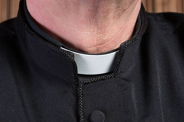Priest clerical collar stock photo