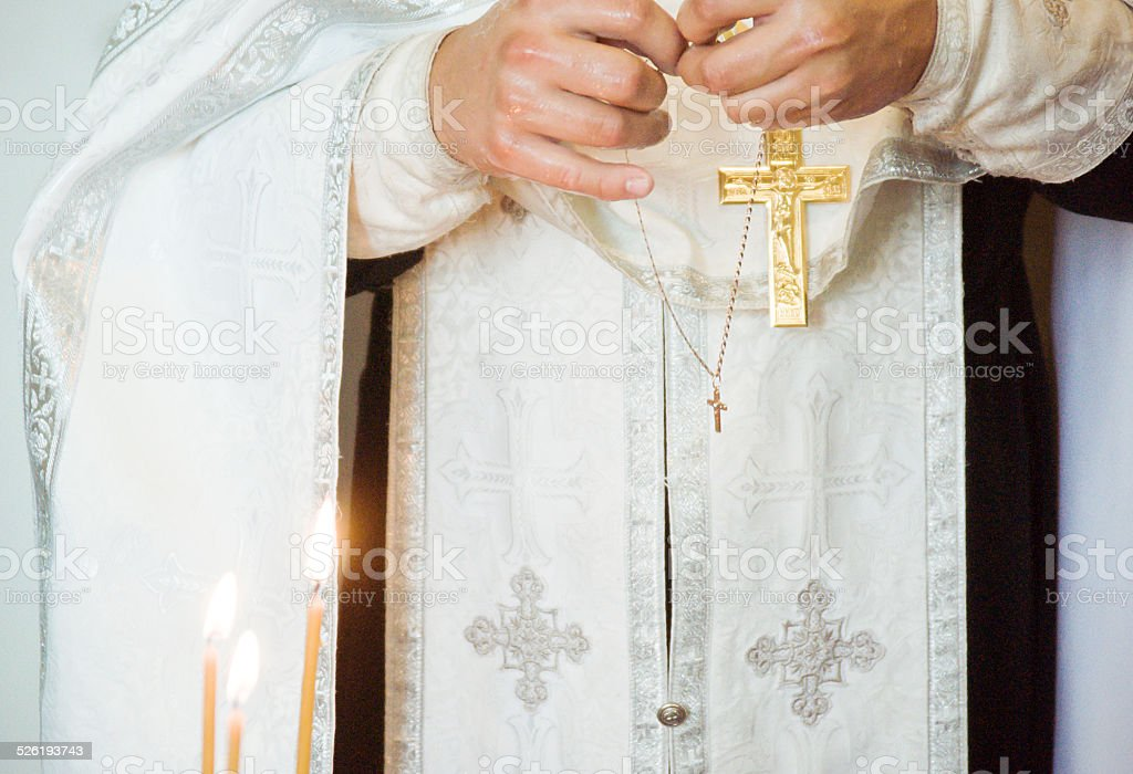 Priest during a ceremony stock photo