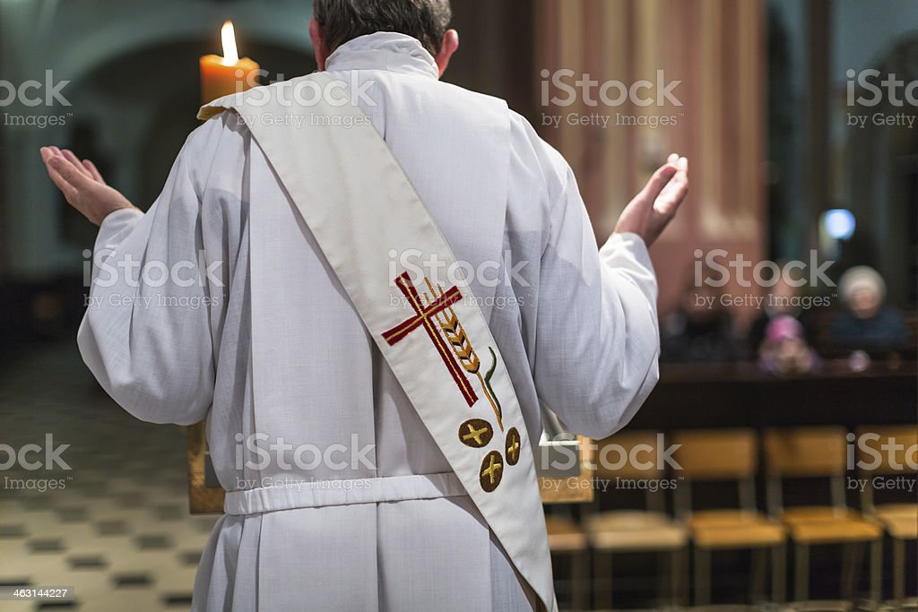 Priest during a ceremony/Mass stock photo