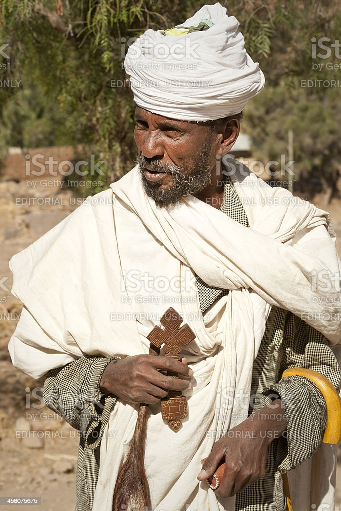 Priest of an Orthodox Monastery in Tigray, Ethiopia stock photo
