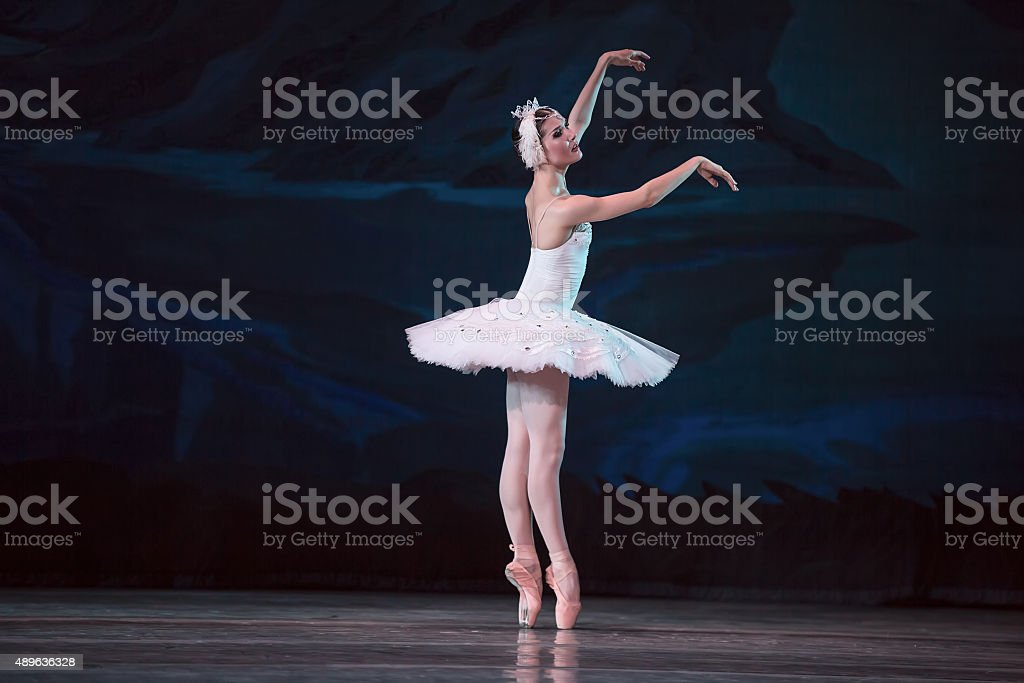 Prima ballerina white swan stock photo