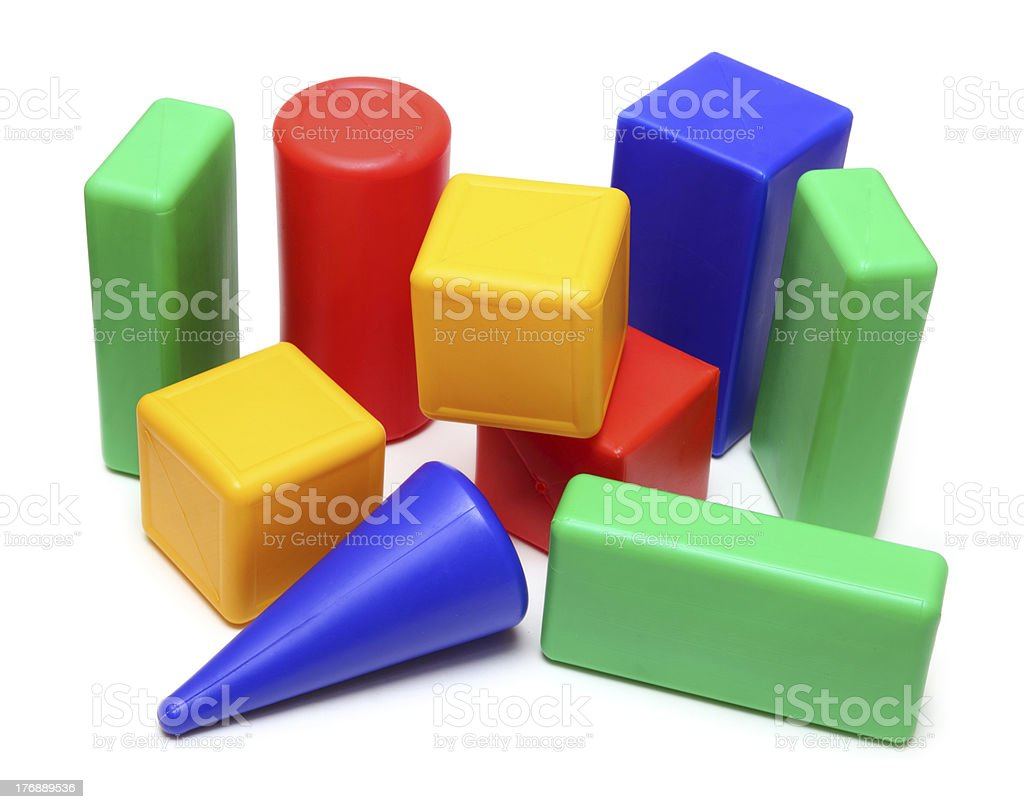 Primary color Meccano toy blocks of varying shape and size stock photo