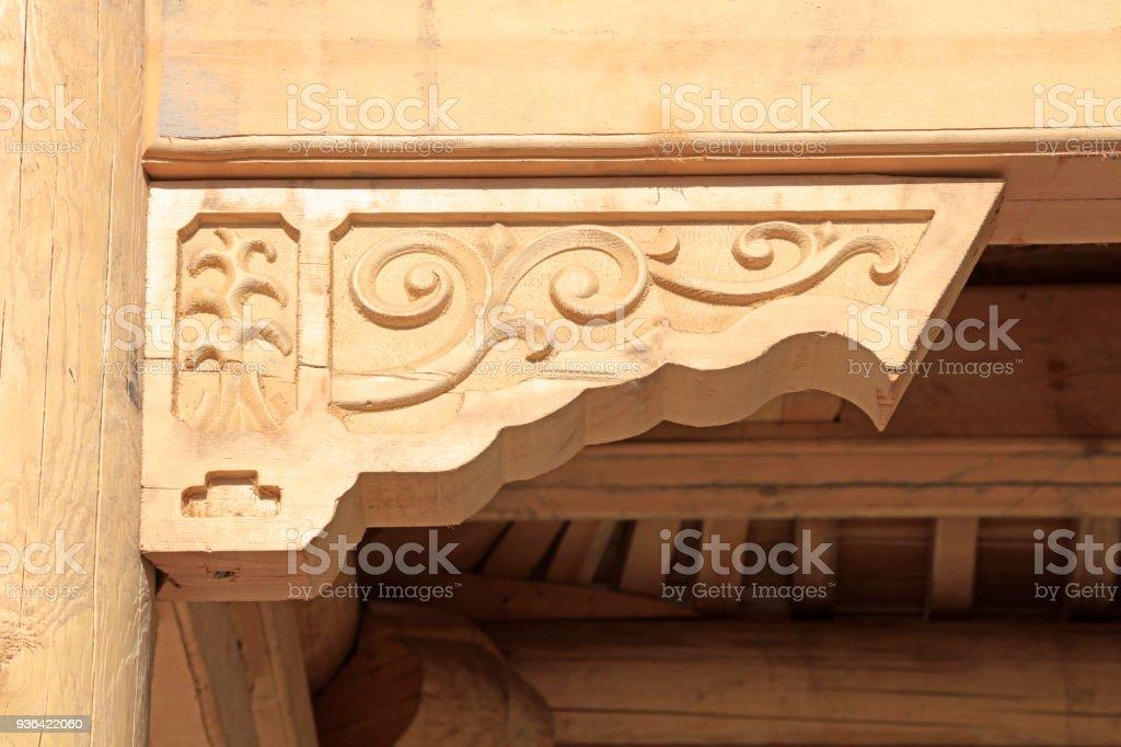 Primary color wood trim, closeup of photo stock photo