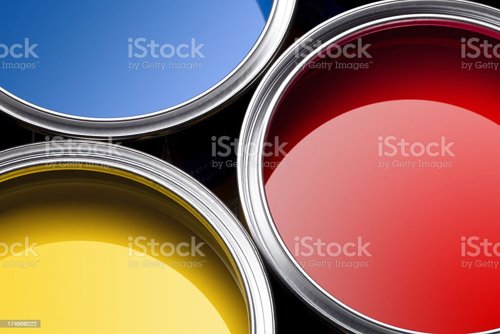 Primary colors paint cans royalty-free stock photo