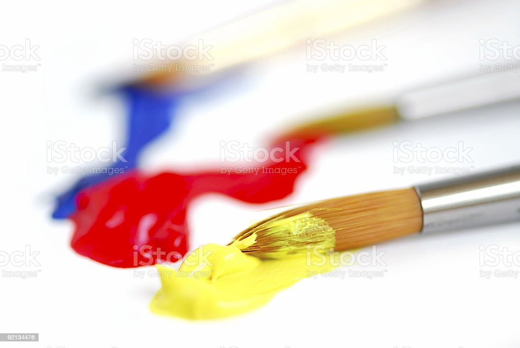 Primary colors paintbrush stock photo
