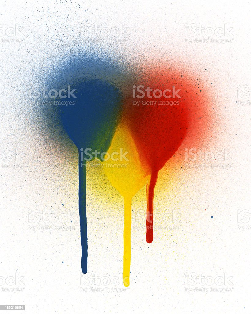 Primary Colors Spray Paint stock photo