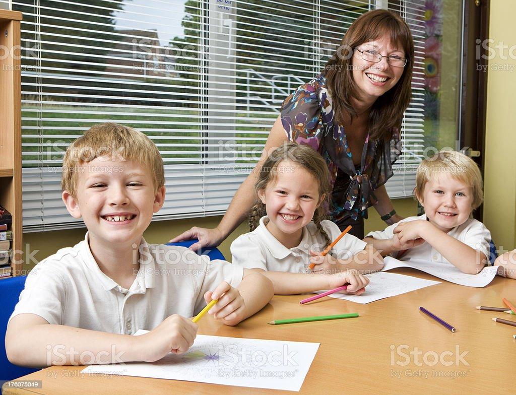 primary school: enjoying schoolwork royalty-free stock photo