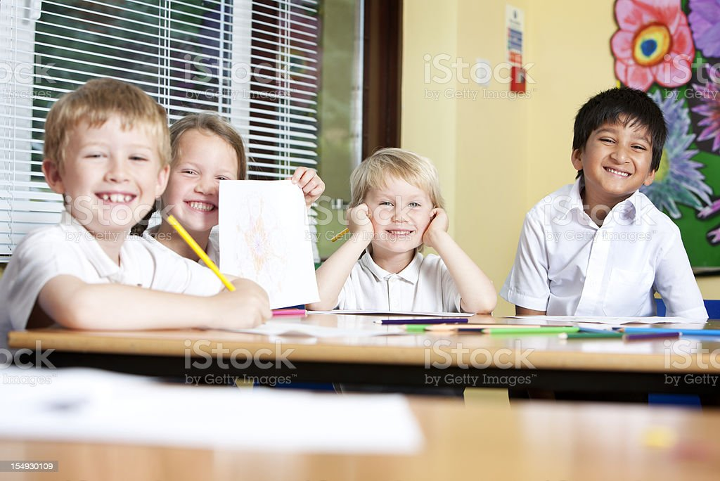 primary school: happy, smiling faces royalty-free stock photo