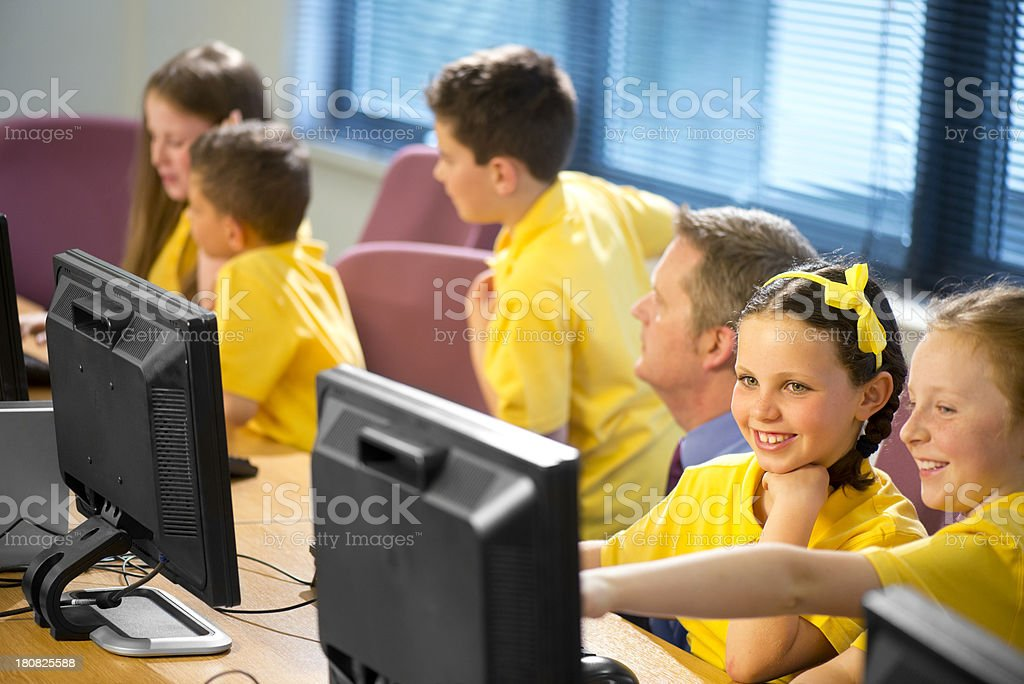 primary school IT class royalty-free stock photo