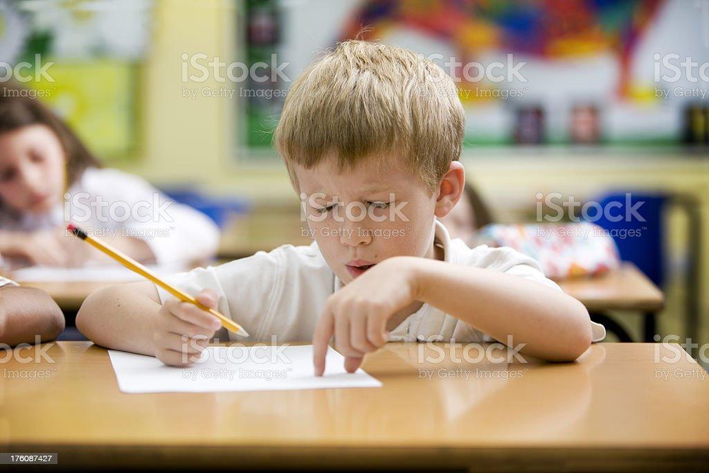 primary school: maths exam stock photo