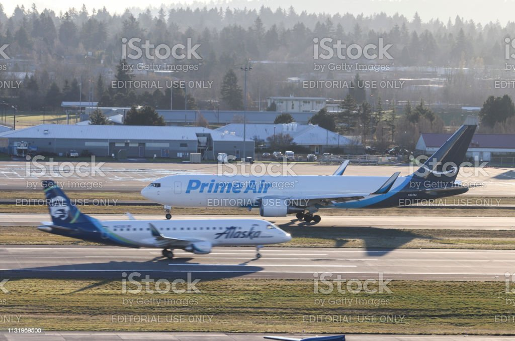 Prime Air Boeing 767 Operated By Atlas Air Taxiing To The Runway For  Takeoff Stock Photo - Download Image Now