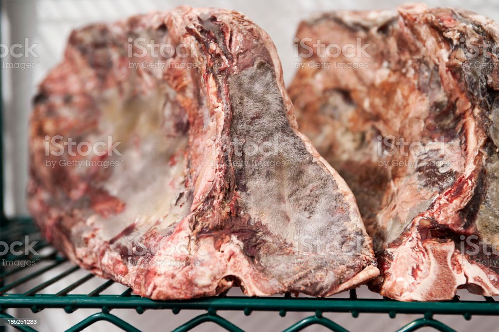 Prime Beef Drying in Cooler stock photo