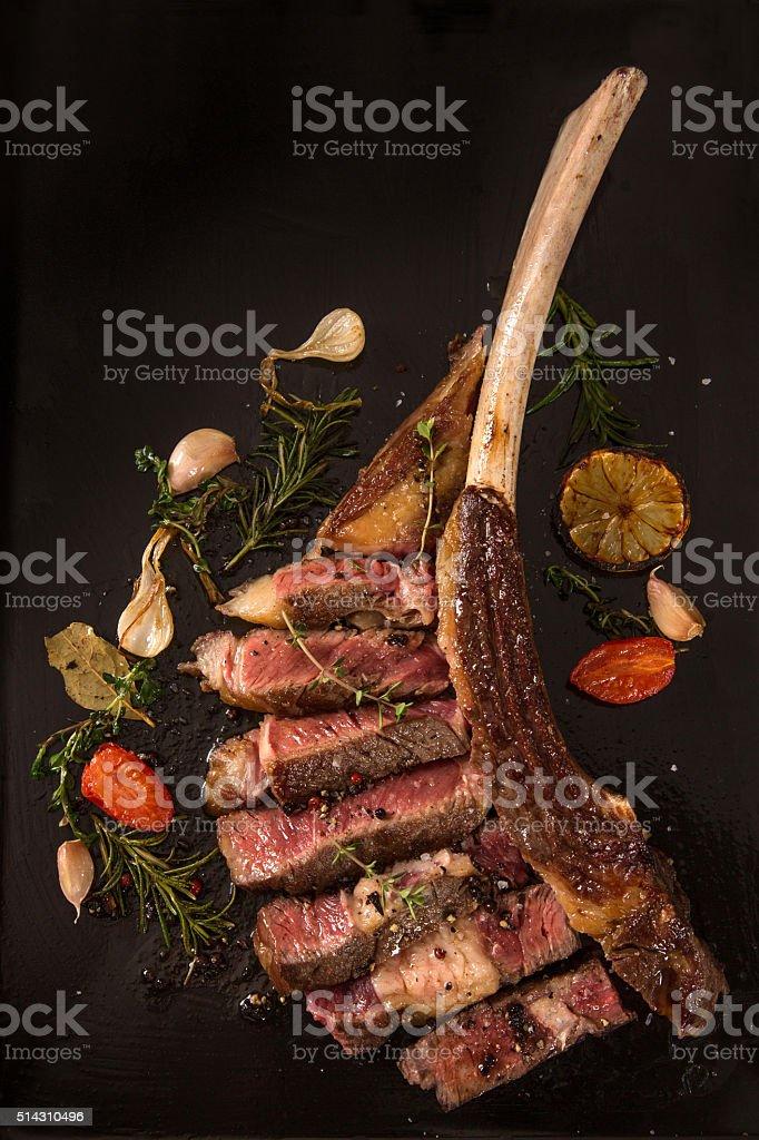 Prime rib steak stock photo