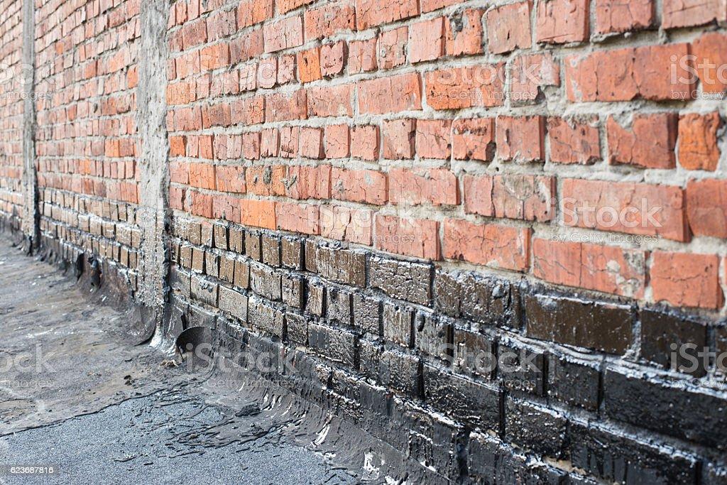priming brick wall stock photo