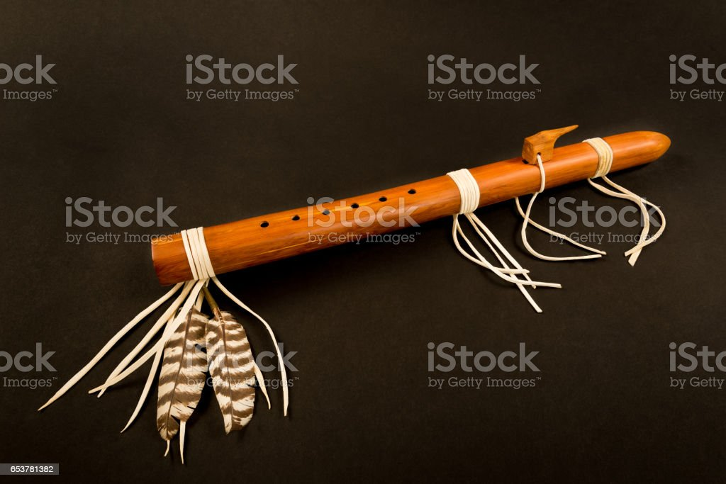Primitive Antique Native American Flute stock photo