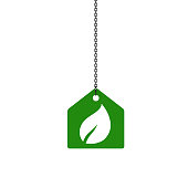 primitive house symbol with chain on white background - green - 3d illustration rendering