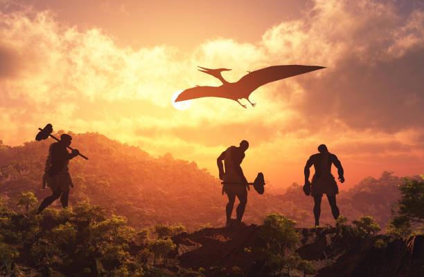 naturvölker. - dinosaurier illustration stock-fotos und bilder