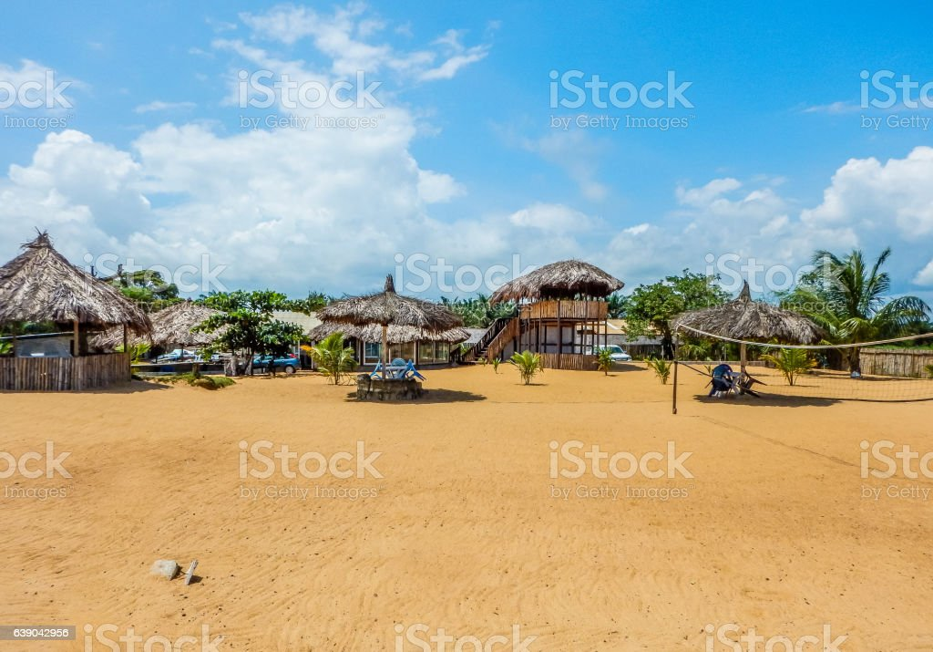 Primitive summer cafe on the beach. Liberia, Monrovia stock photo