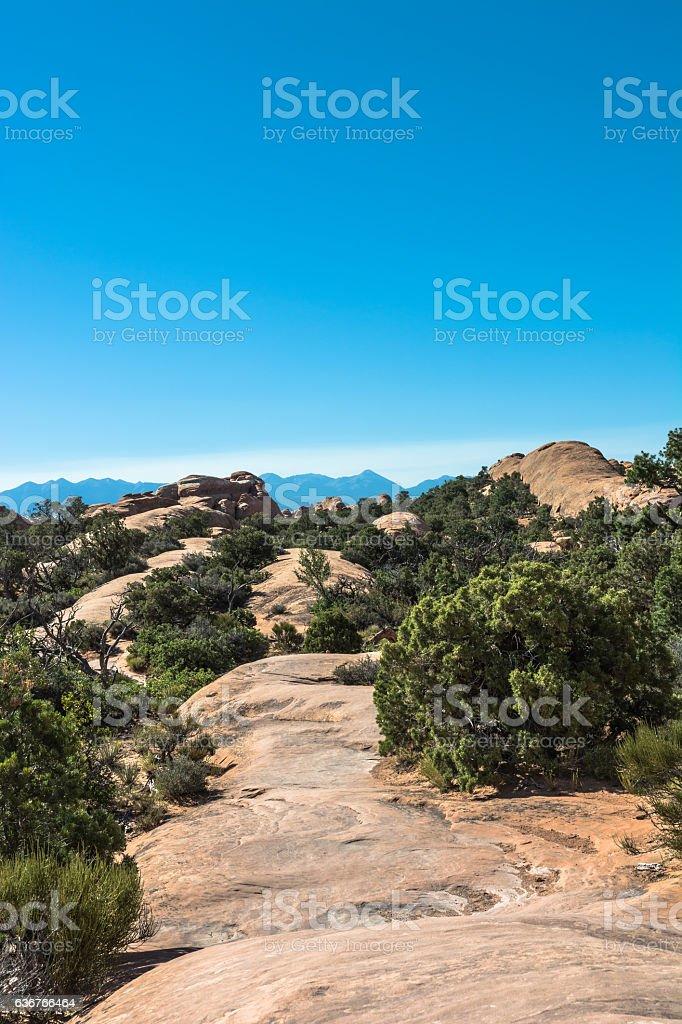 Primitive Trail in Arches National Park, Utah stock photo