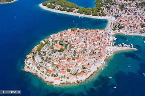 Aerial panorama of Primosten Old Town, Croatia