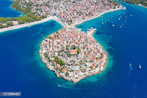 Aerial panorama of Primosten Old Town, Croatia