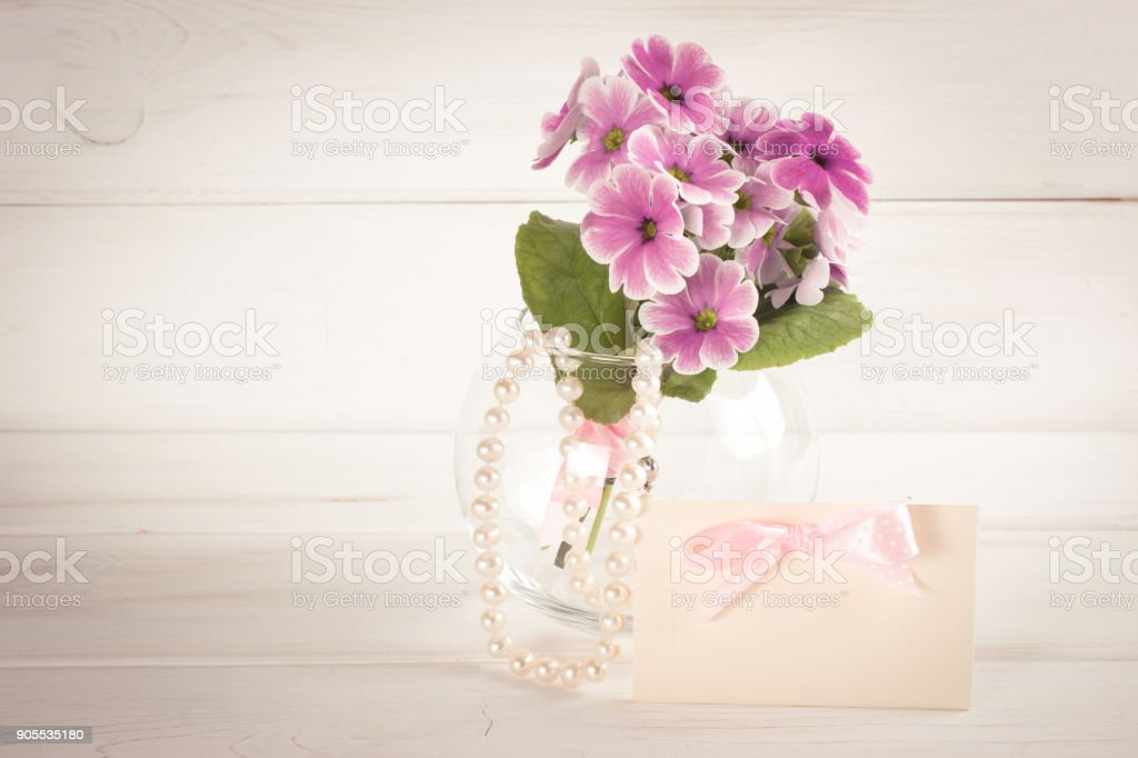 Primroses in vase with greeting card and woman's pearl necklace stock photo