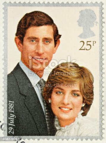 istock Prince Charles and Lady Diana Royal Wedding Stamp 458375041