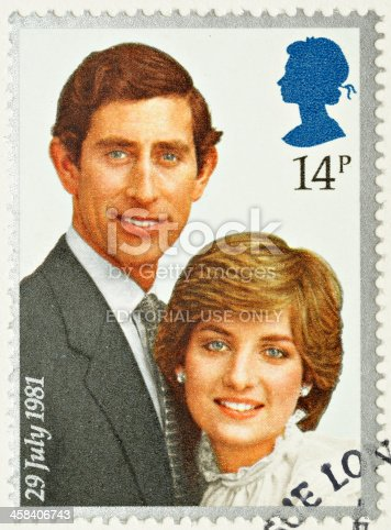 Exeter, United Kingdom - February 14, 2010: A British Used Postage Stamp celebrating the Royal Wedding of Prince Charles and Lady Diana Spencer on the 29th July 1981, printed and issued in 1981