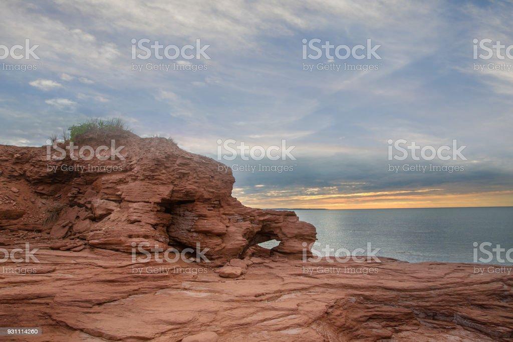 Prince Edward Island kırmızı kum sahiller. - Royalty-free Atlas Okyanusu Stok görsel