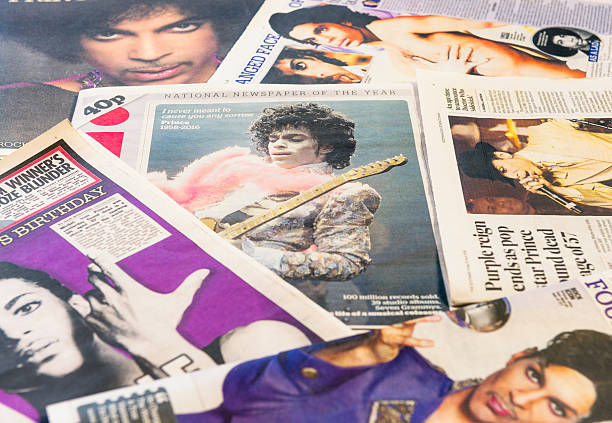 Prince featured in newspapers following his death Edinburgh, UK - April 22, 2016: A selection of British newspapers featuring the musician Prince, following news of his death on April 21, 2016. Born in Minneapolis in 1958, Prince was widely appreciated for his musical innovation and skill, as well as achieving commercial success. prince musician stock pictures, royalty-free photos & images