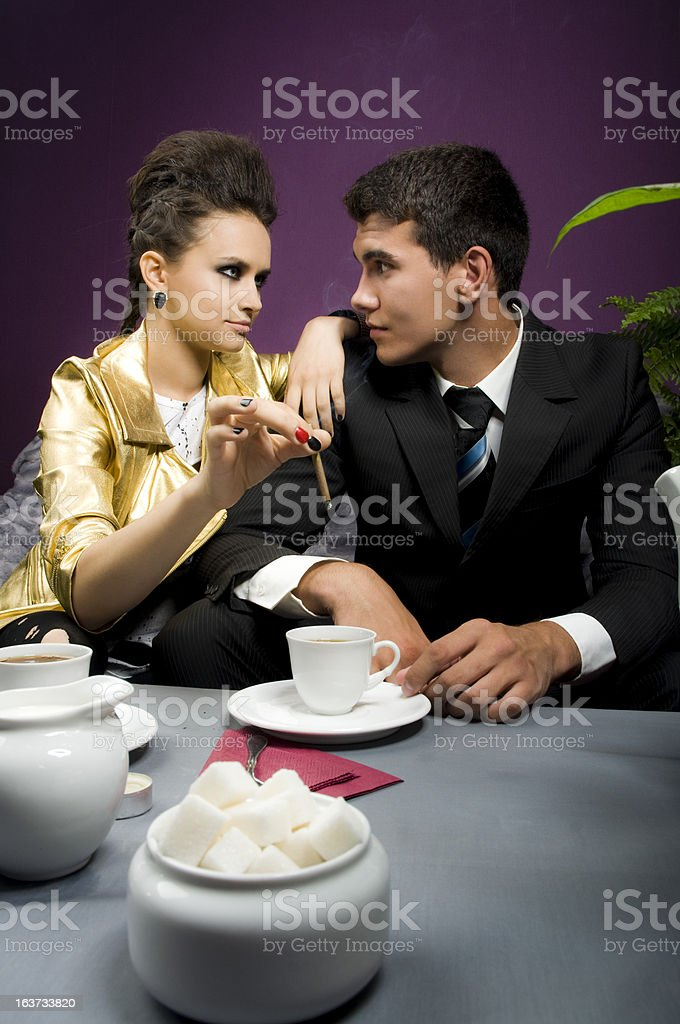 Prince fell in love with the Punk girl royalty-free stock photo