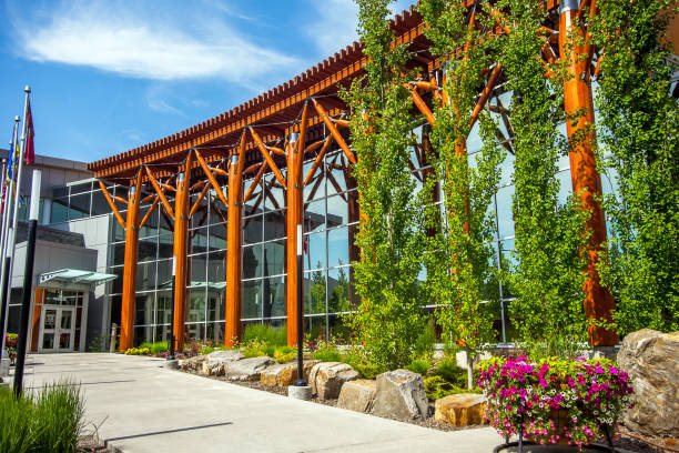 Prince George, British Columbia, Canada, June 19, 2018 Building of the Royal Canadian Mounted Police Prince George stock photo
