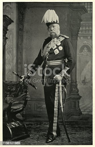 Vintage photograph of Prince George, Duke of Cambridge, a member of the British Royal Family, a male-line grandson of King George III, cousin of Queen Victoria. The Duke was an army officer by profession and served as Commander-in-Chief of the Forces (military head of the British Army) from 1856 to 1895.