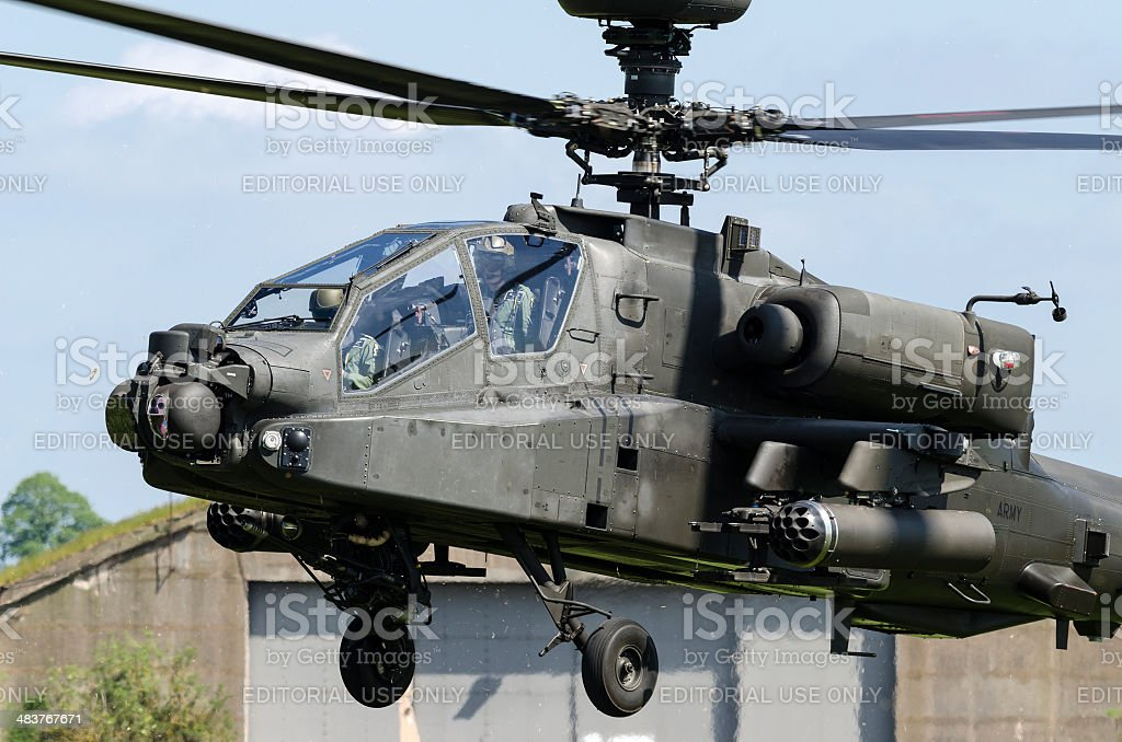 Prince Harry in an Apache army attack helicopter royalty-free stock photo