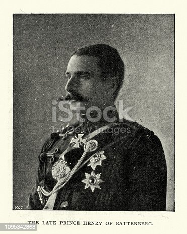Vintage photograph of Prince Henry of Battenberg a morganatic descendant of the Grand Ducal House of Hesse, later becoming a member of the British Royal Family, through his marriage to Princess Beatrice.