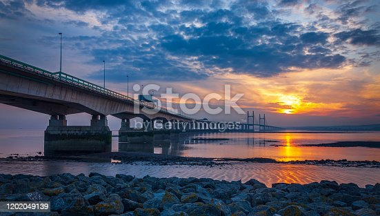 Prince Of Wales bridge over the River Severn at sunset.