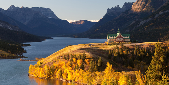 Prince Of Wales Hotel In Waterton National Park Stock Photo - Download Image Now